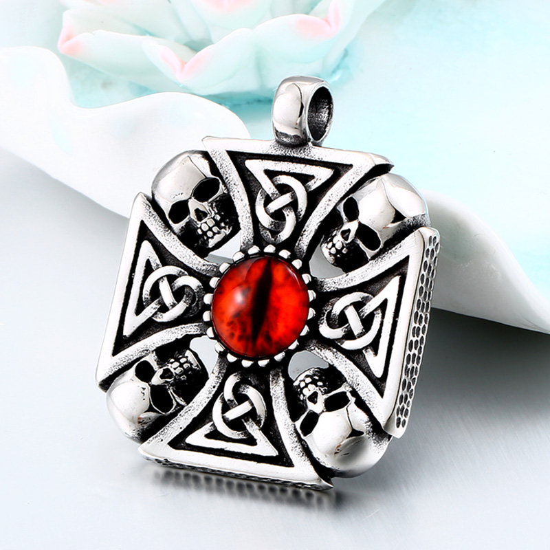 Vintage Cross Skull with Claw Evil Red Eye Necklace Pendant For Men 316 Stainless Steel Viking jewelry Punk Style BP8-345