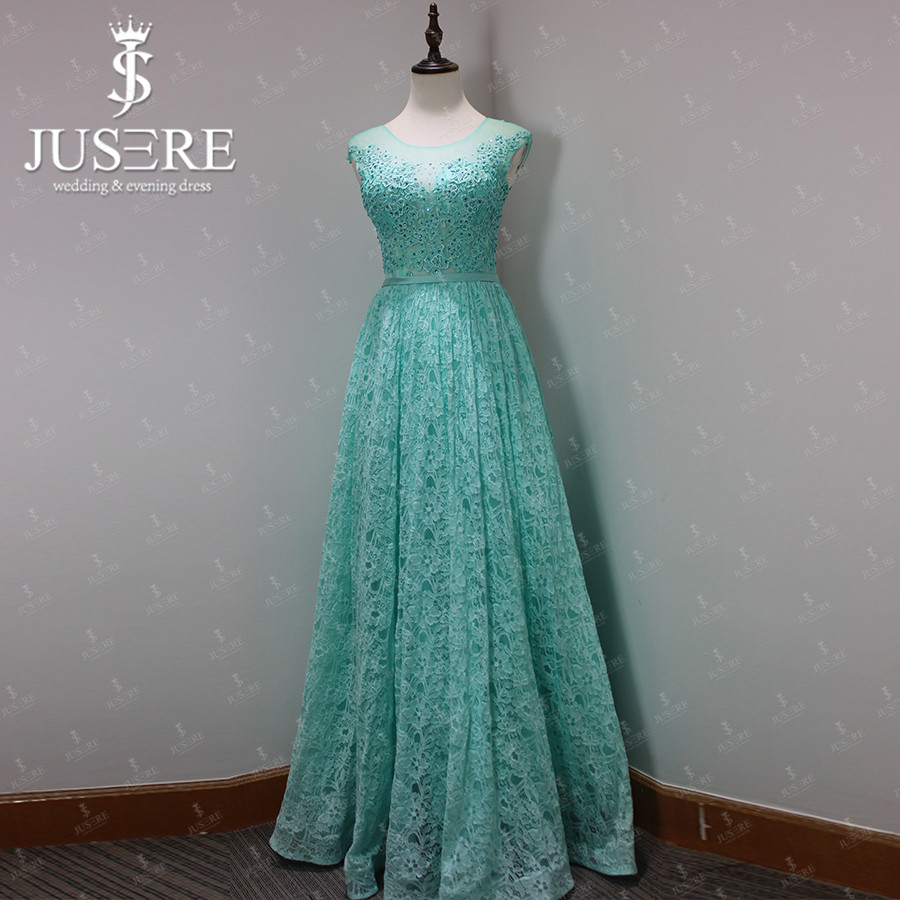 Aliexpress Buy Jusere 2017 A Line Cap Sleeve Sale Mint Long Lace Slim Gown Scoop Neck
