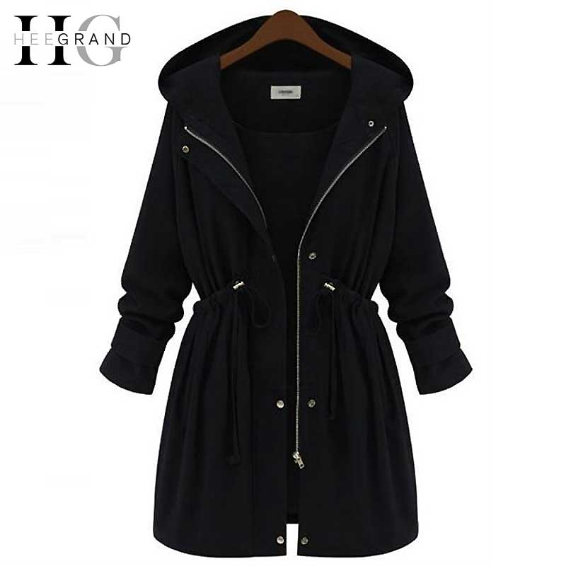 HEE GRAND 2018 Women Outwear Hooded   Trench   Coat Manteaux Femme Adjustable Waist Autumn Coats Abrigos Mujer Plus Size 4XL WWD289