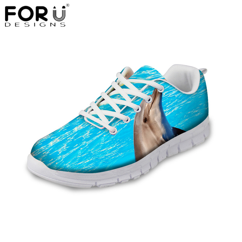 FORUDESIGNS Fashion Women's Flats Cute Dolphin/Giraffe Print Comfortable Mesh Sneakers for Ladies Girls Light Weight Flat Shoes instantarts cute glasses cat kitty print women flats shoes fashion comfortable mesh shoes casual spring sneakers for teens girls