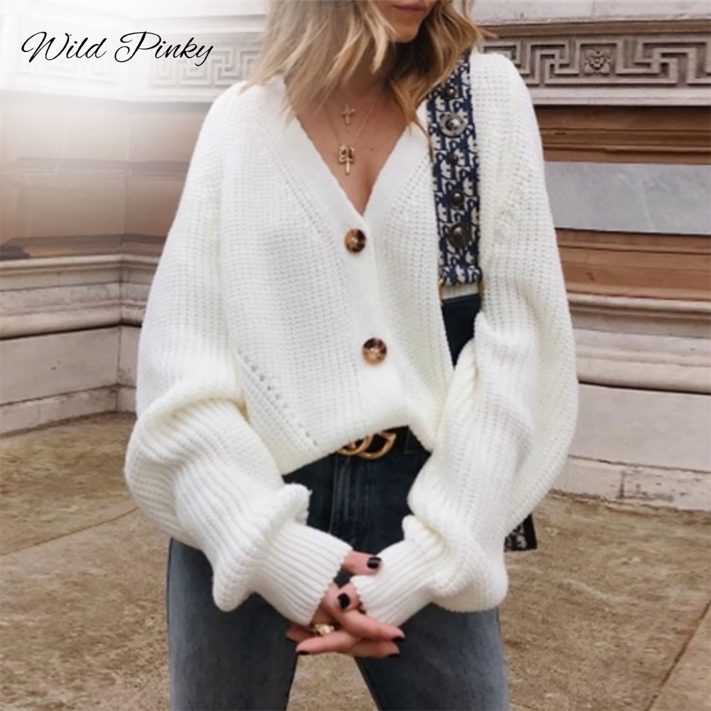 WildPinky 2019 Autumn Winter Fashion Women Long Sleeve Loose Knitting Cardigan Sweater Women Knitted Female Cardigan Pull Femme