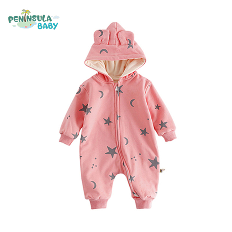 Baby Rompers Autumn Winter Warm Thicker Velvet Boys Girls Clothes Comfortable Infant Jumpsuit 3D Ear Star Baby Hooded Overalls 2017 adorable hotest toddler baby girls boys warm hat winter hooded scarf ear flap knitted cap cute gift suit for 1 3 t