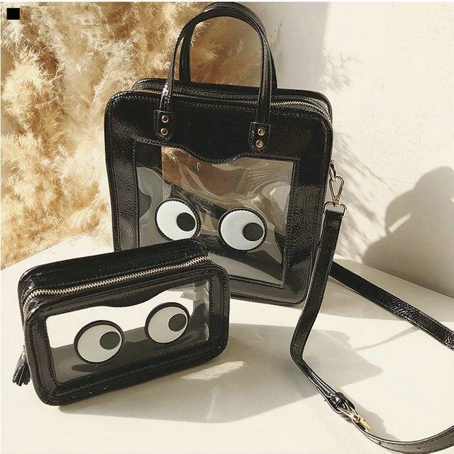 1b9138e5cf 2018 New Emoji Transparent Bag and Tote Handbag Women s Summer Travel Set  PVC Clear Fun Eyes Cloud Smile Cherry Clutch Satchel