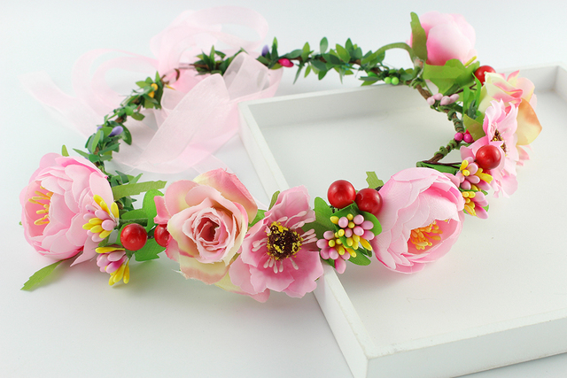 Pink flower garland headbands flower hair accessories women girls pink flower garland headbands flower hair accessories women girls hair band flower garland travel performance wreath mightylinksfo