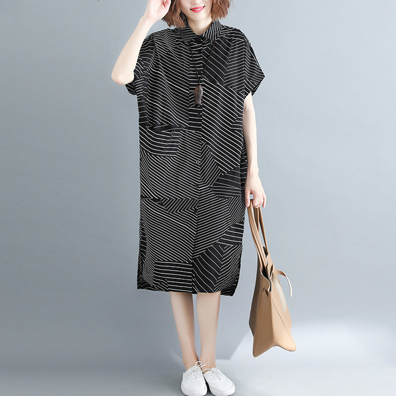 Plus Size Women   Blouse     Shirts   Lady Tops Tunic Summer Female Striped Patchwork Loose Casual Big Size   Shirt   Dress 2019 New LP213