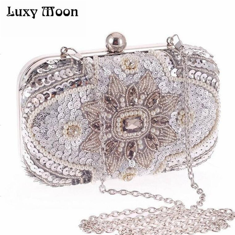 New 2017 Glitter women beaded clutch silver evening bags with chains handbag wedding dress bag party purse  Banquet package w611 fashion hot new aotian glitter sequins spangle handbag party evening clutch bag wallet purse dropshipping 72 24