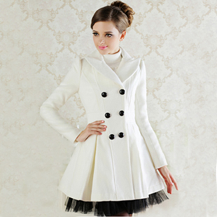 Free Shipping 2013 Red Black White Wool Dress Coats Women Double Breasted  Peacoat Elegant Swing Ladies Winter Clothing WC071-in Wool   Blends from  Women s ... 75a3d5ef2