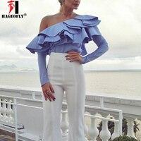 NEW One Shoulder Ruffles Blouse Shirt Women Tops Spring Summer Casual Blue Striped Shirt Long Sleeve