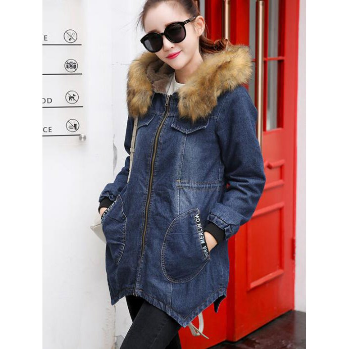 Plus Size 3XL Winter Fur Collar Cowboy Parka Faux Lamb Wool Warm Denim Jacket Coat Mid Long Womens Thick Parkas Coat hot autumn womens slim wool warm coat parka navy blue size s xl light tan red navy