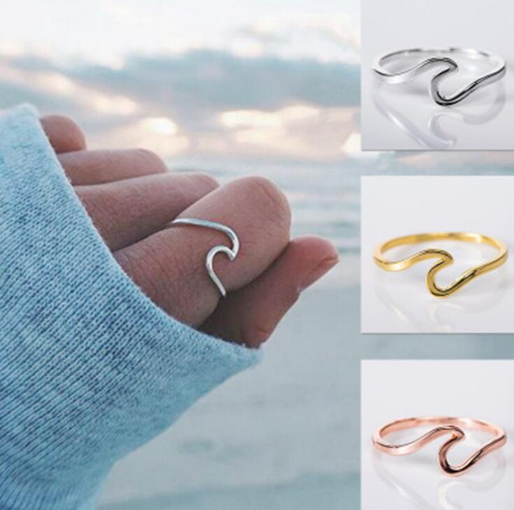 Wedding Rings for Women Wave Alloy Silver Charms Rose Gold Fashion Jewelry