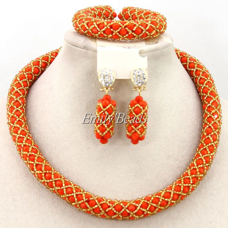2016 Smart Nigerian Wedding African Beads Jewelry Sets Costume African Crystal Beads Necklace Jewelry Sets Free