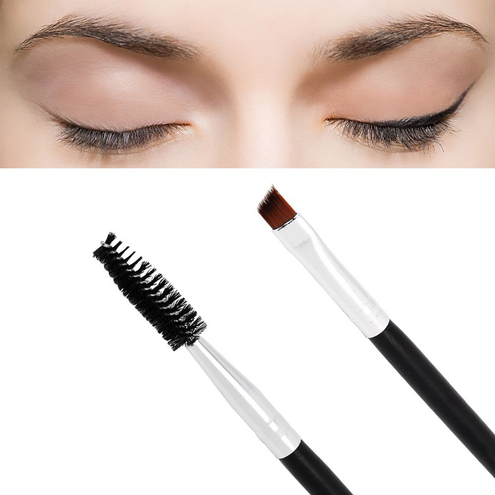 1 Pc Portable Cosmetic Double Head Wooden Handle Facial Eye Makeup Brushes Cosmetic Eyebrow Brush Tool With Brush Comb