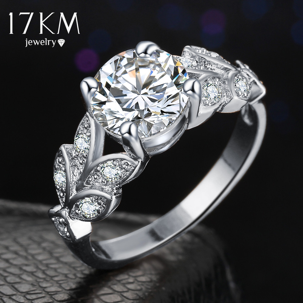 17km fashion silver color crystal flower wedding rings for for Jewelry wedding rings
