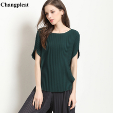Changpleat 2019 summer New Women bat sleeve T-shirts Tops Miyak Pleated Fashion O-neck loose Large Size Female T-shirt Tide T768