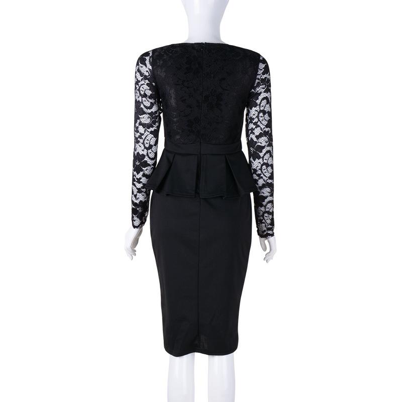 5dad6c7742f 2017 Long sleeve peplum dress Deep V neck sexy lace dress plus size ...