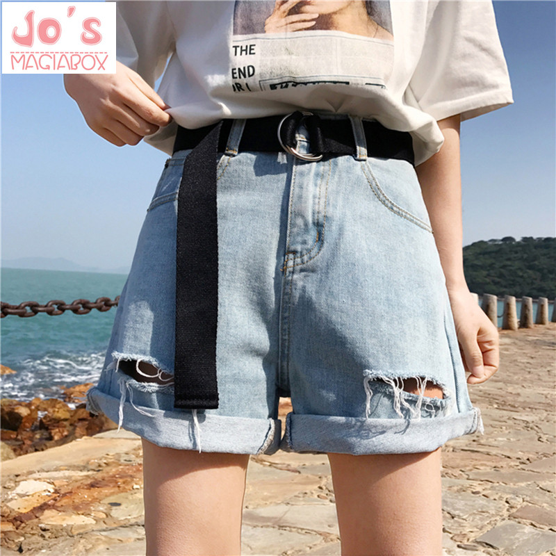 2018 New Women   Shorts   Denim Summer High Waist   Shorts   Plus Size Hollow Out With Belt Harajuku Kawaii Sashes Casual Street