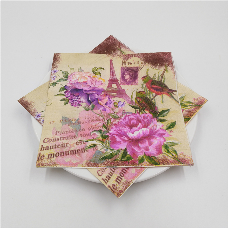 20 vintage table napkins paper towel tissue printed pink purple flower peony bird tower decoupage wedding party decor serviettes pink floral towels