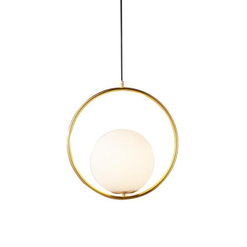 купить 2018 New Art Creative Bedroom Pendant Light Milky Glass Ball Light Restaurant Designer Light Cafe Study Light With Led bulbs недорого