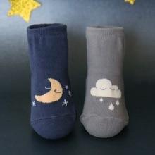 Baby Kids Anti-slip Socks Cloud Moon Print Warm Unisex Cotton soft Socks for boy girl 0-4Y