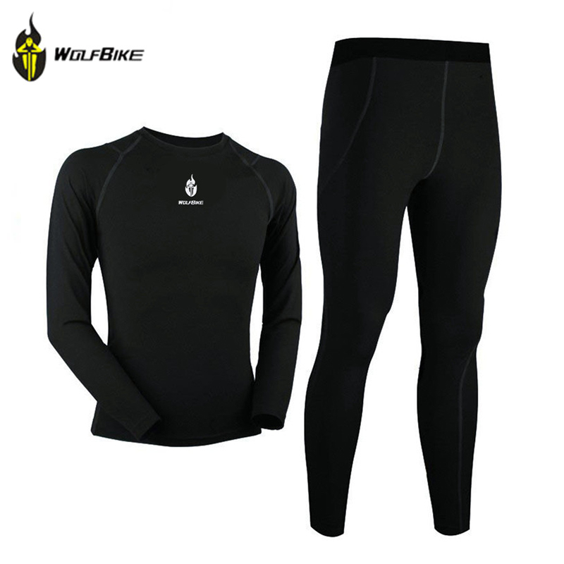WOLFBIKE Men Thermal Fleece Base Layer Compression Under Wear Cycling Bike Long Sleeve Shirts Pants Winter Sport Runing Tights chic quality warmth thermal fleece base layer cycling long sleeve jersey for unisex