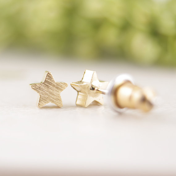Minimalist Brushed Star Earrings