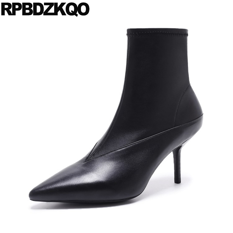 Sexy Waterproof Genuine Leather Pointy Ankle Stiletto Short Designer Shoes Women Luxury 2017 Boots Black High Heel Autumn Thin trendy buckle style cut out thin heel sandal booties sexy pointy stiletto heel ankle boots elegant women burgundy suede booties