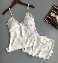 Women's Lace Trim Padded Top and Shorts Pajama Set