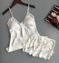 QWEEK Cotton Two Piece Set Women Sleepwear Silk Pajamas Sexy Chest Pad Nightwear Women 2019 Summer Lace Homewear Women Lingerie
