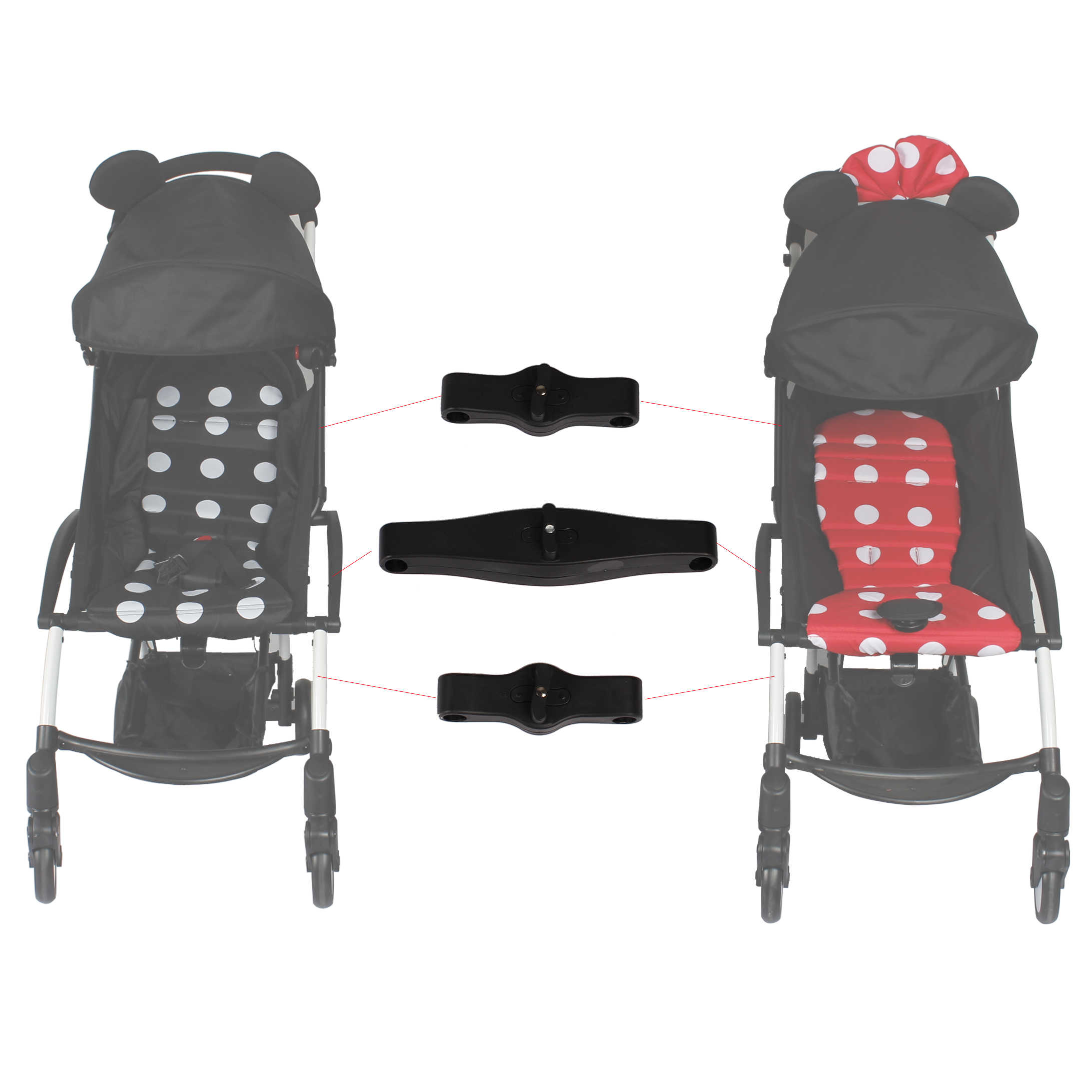 Double Buggy On Flight Stroller Connectors Of Twin Pram Stroller Yoyo Accessories