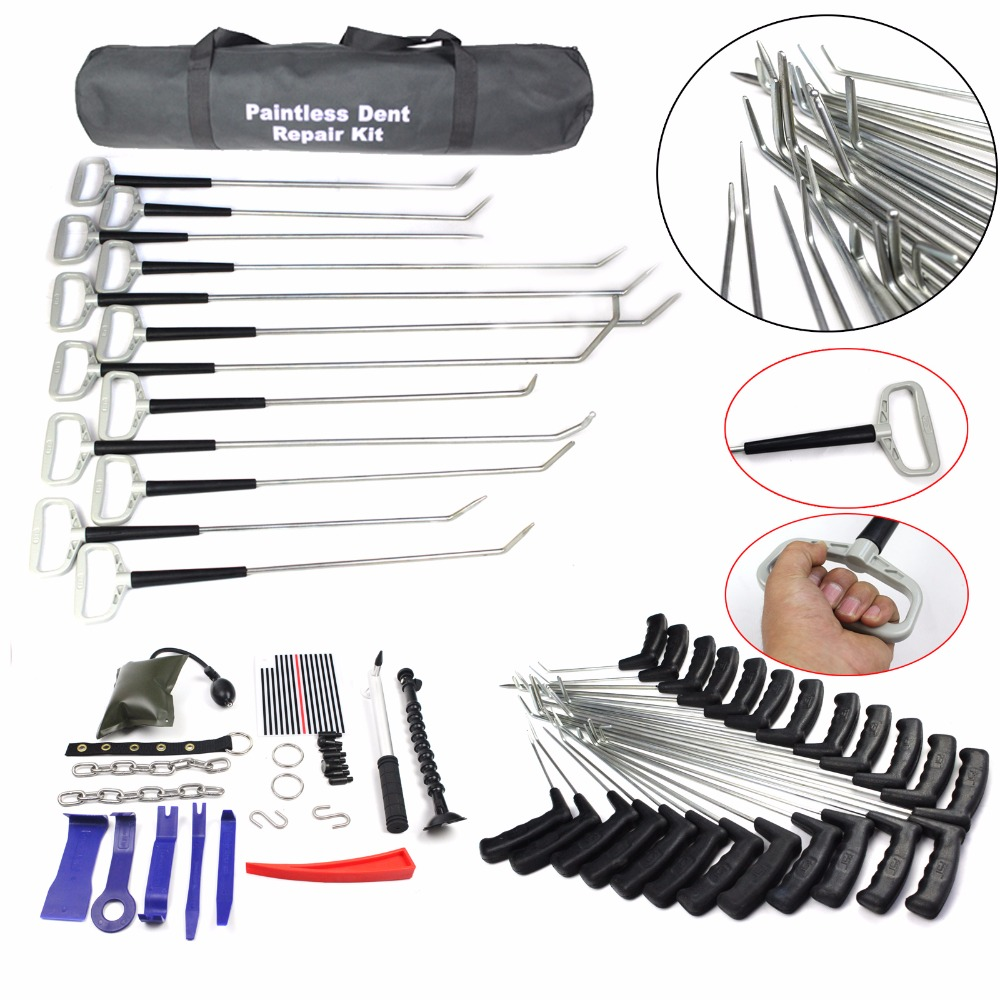 Paintless Dent Repair Tools Dent Removal PDR Rods PDR Tool Hail Removal Auto Body Ding Dent Repair Rod Hook dent lifter hammer high quality dent diy tools super pdr slide hammer for paintless dent removal auto body repair lifter tools kit for sale