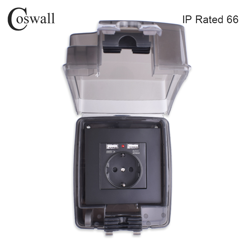 Coswall IP66 Weatherproof Waterproof Outdoor BOX Wall Socket 16A EU Outlet With Dual USB Charging Port External Installation