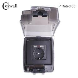 Coswall ip66 à prova de intempéries à prova d16água ao ar livre 16a tomada de parede da ue com dupla porta carregamento usb instalação externa