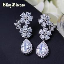 BlingZircons Shining Clear Crystal Heart Cut Flower Long CZ Stone Drop Wedding Bridal Earrings For Bride Bridesmaid Jewelry E114