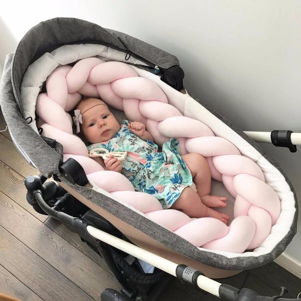 Длина 200 см, высота 12 см, одноцветная детская мягкая подушка, плетеная детская кроватка, бампер, подушка с узлом, подушка, колыбель, декор для маленьких девочек и мальчиков