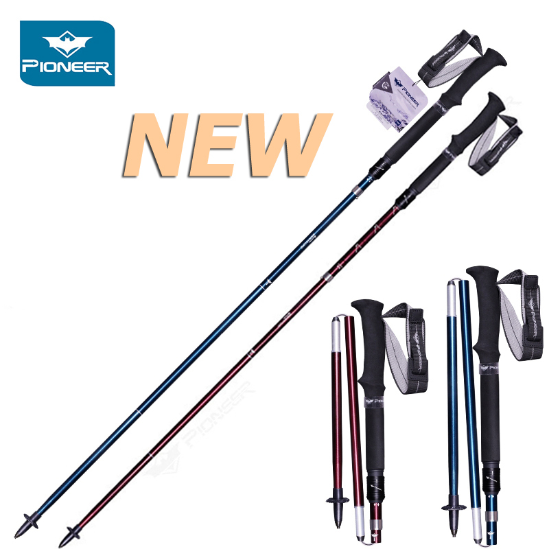 купить Adjustable Alpenstocks Aluminum 7075 Trekking Poles Collapsible Lightweight Hiking Canes Walking Climbing Sticks With Carry Bag недорого