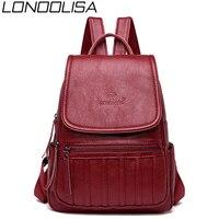 LONOOLISA New Women Leather Backpack High Quality Female Travel Back Pack Bagpack Ladies Mochilas School Bags For Teenage Girls
