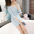 2016 New Women Cashmere Slim Long Pullover Sweaters Fashion Solid Wave V-Neck Bottom Sweater Dress Elastic Knitted Jumpers