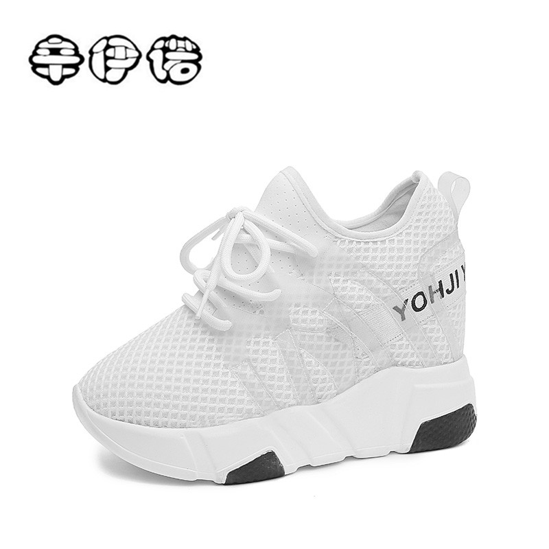 New White Women Casual Platform Shoes Fashion High Heels Shoes Woman Wedges Women Shoes Loafers Heigh Increasing zapatos mujer