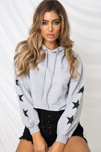 купить Womens hoodies winter hooded star cartoon tops woman sweatshirt new hooded short sweatshirts long sleeve pullover female дешево