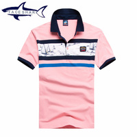 Famous Brand Tace Shark Men S Short Sleeve Polo Shirt Pink Color Men Polos Casual Short