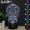 Creative Gifts Skull 3D Night Light USB Led Table Desk Lampara as Home Decor Bedroom Reading Nightlight free remote control