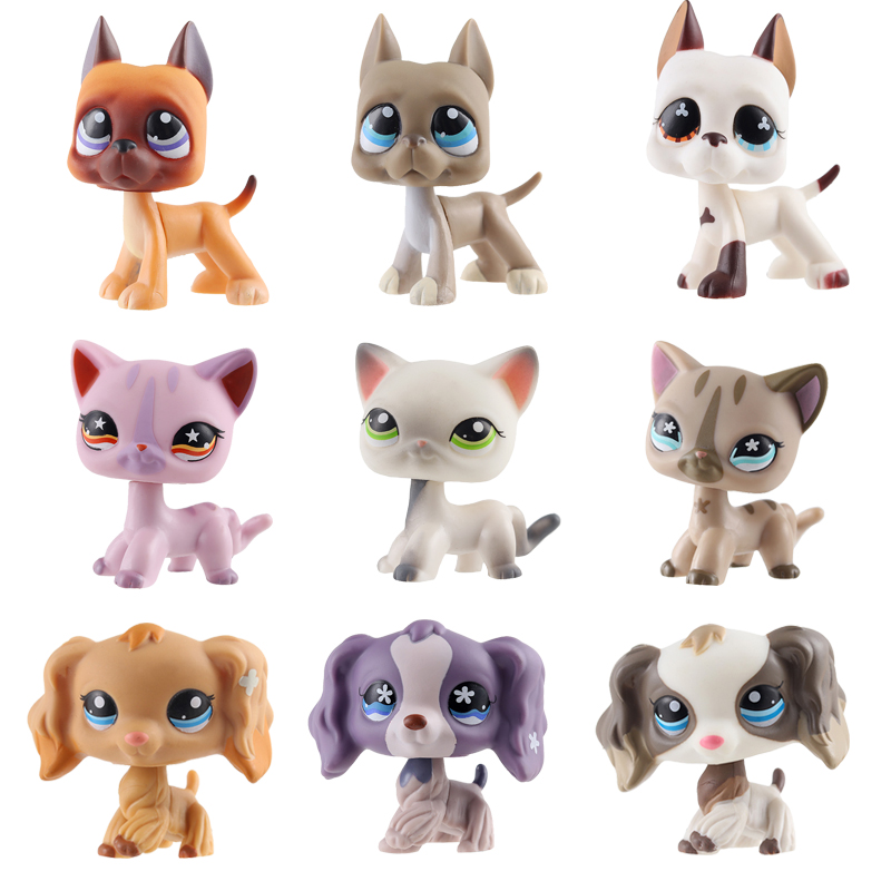 Lps Standing Pet Shop Lps Toys Grey White Short Hair Cat Littlest Dog Collie Dachshund Cocker Spaniel Great Dane Toy For Child