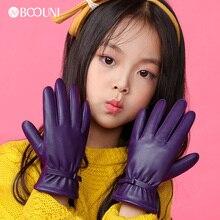 BOOUNI/Детские перчатки из натуральной кожи; сезон осень-зима; теплые бархатные детские перчатки с подкладкой из овчины для девочек; пять пальцев; NW103