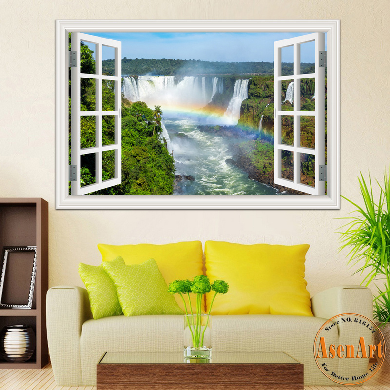 Home Decor Mural Art Wall Paper Stickers ~ D window view wall sticker decal home decor