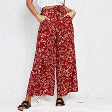 Lily Rosie Girl impresión Floral Pantalón ancho pantalones largos pantalones  casuales 2018 verano boho beach elástico d322b1223709
