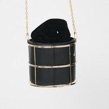 Europäischen und Amerikanischen Marke Damenmode Eimer Schwarz PU Metallrahmen String Abendgesellschaft Handtaschen Handtasche 100 cm O Kette
