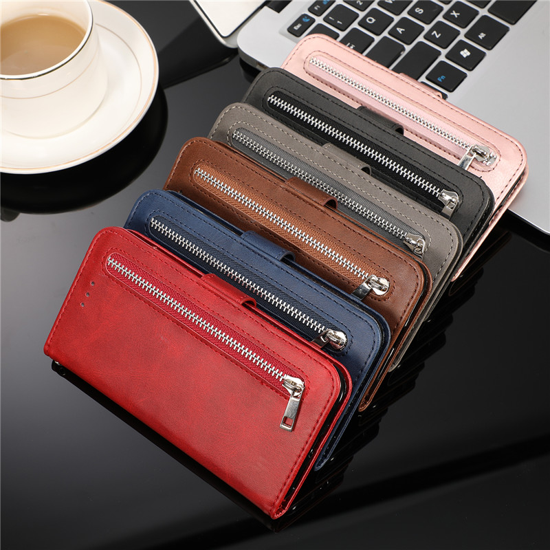 Leather Zipper Flip Cover Wallet Case For Samsung Galaxy S20 Ultra S10 S9 S8 Plus S7 Note 8 9 10 Cover 5