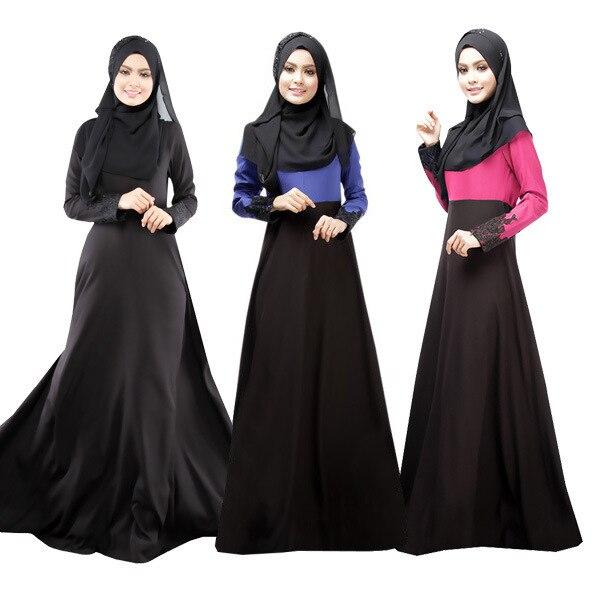 Muslim Dress Lace Patchwork Abaya Women Long Dress Elegant Arab Garment  Loose Islamic Clothing For Women 679fce957c1a