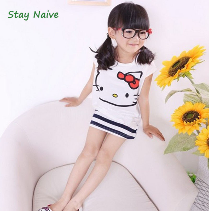 Summer cartoon cat baby clothing set of cute point short sleeve shirt and skirt for the girl baby clothes for children 165122 the color of the fur ball cartoon fringed hem t shirt wholesale clothing