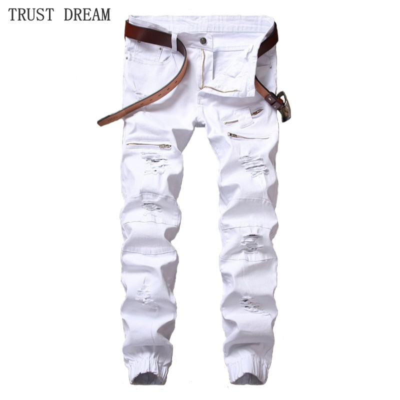 2019 Fashion New man Solid White Black crippled hole slim fit jeans men Fake zipper Jean Male patch moto pant Personal pants in Jeans from Men 39 s Clothing